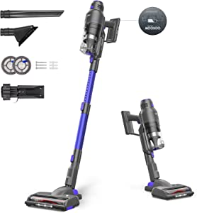 MOOSOO Cordless Vacuum Cleaner, Featuring Smart Sensor Tech, Powerful Stick Vacuum with Multi-Cone Cyclone. Over 40 Minutes Runtime with Efficient Brushless Motor for Deep Cleaning Carpet Pet