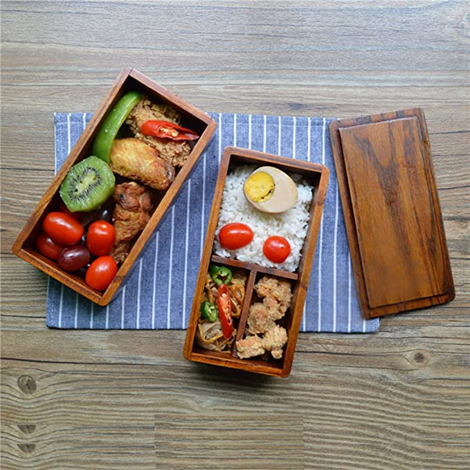 AOOSY Lunch Box Bento Box Fiambrera Japonesa tradicional de madera natural caja de almuerzo doble alimentos frutas Sushi Sandwich Container escuela de viaje para Camping (con tenedor cuchara Kit): Amazon.es: Hogar