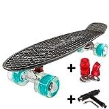 FunTomia Mini-Board 57cm Skateboard mit oder ohne LED Leuchtrollen inkl. Aluminium Truck und Mach1 Kugellager in verschiedenen Farben zur Auswahl T-Tool