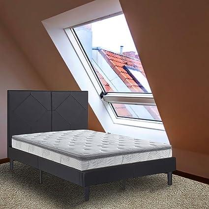 King Size Bed Frame For Men 14u0026quot; Dura Metal Faux Leather Platform Bed  Frame 2