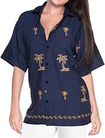 Blusas de la Camisa Hawaiana botón de Ajuste Relajado hacia Abajo de la Corto Azul Marino Mangas Campamento