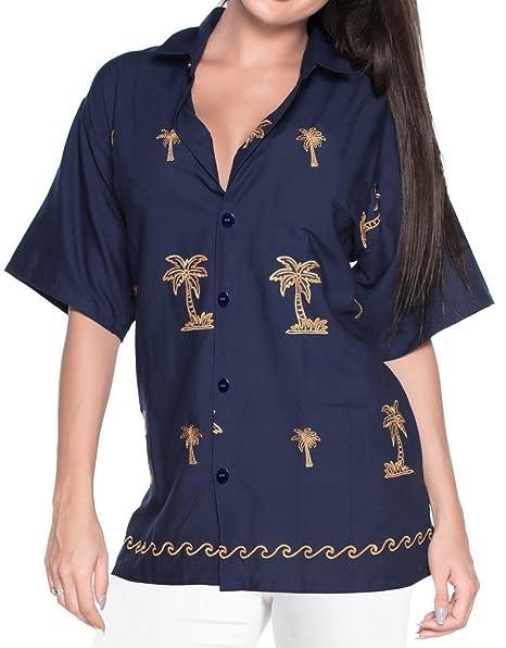 Blusas de la Camisa Hawaiana botón de Ajuste Relajado hacia Abajo de la Corto Azul Marino Mangas Campamento: Amazon.es: Ropa y accesorios
