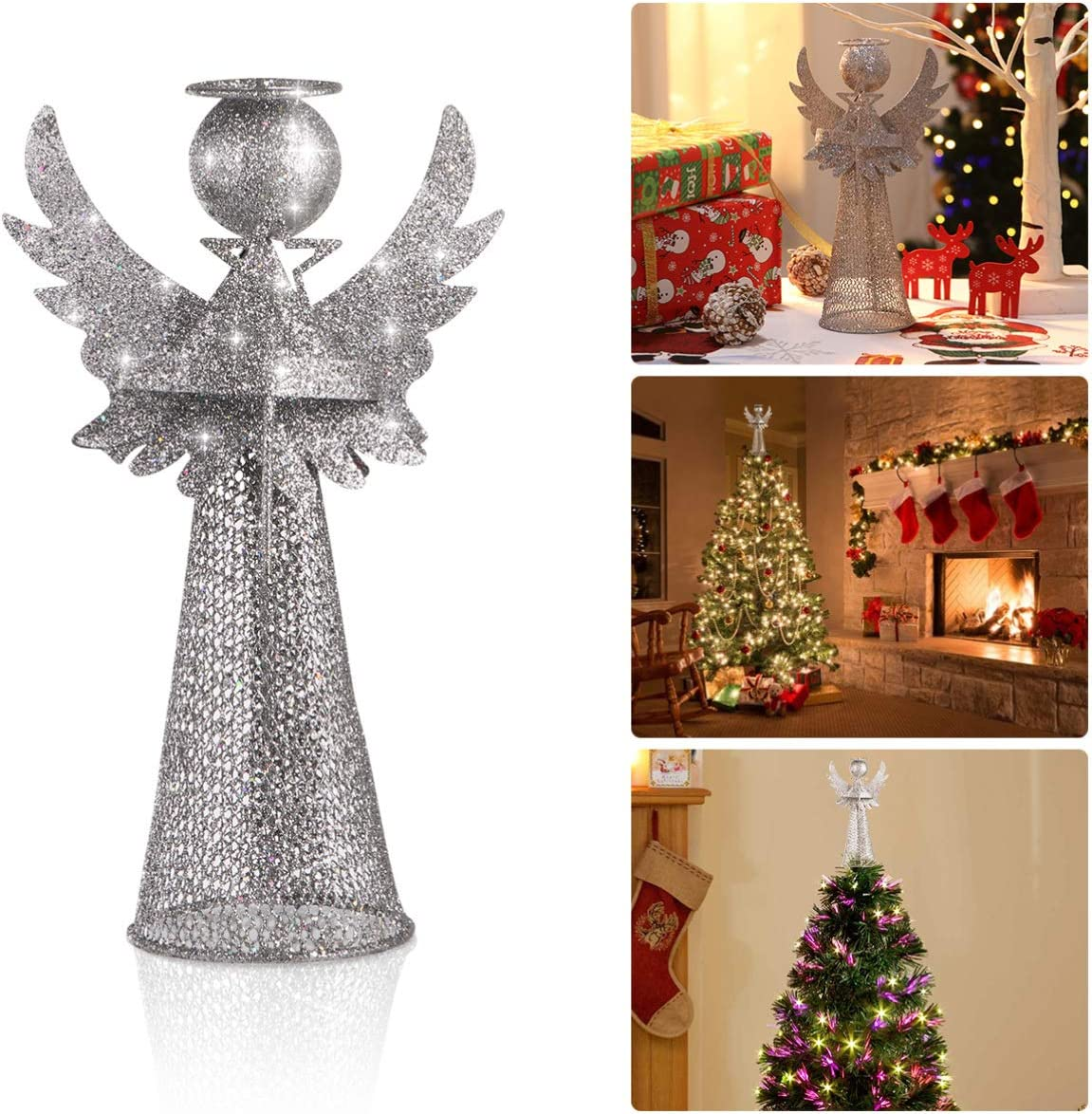 Amosfun Xmas Tree Topper 3D Angel Figure Treetop Silver Glitter Metal Christmas Tree Decor Christmas Desktop Ornament