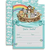 """Noah's Ark Birthday Party or Baby Shower Invitations, Ten 5""""x7"""" Fill In Cards with 10 White Envelopes by AmandaCreation"""