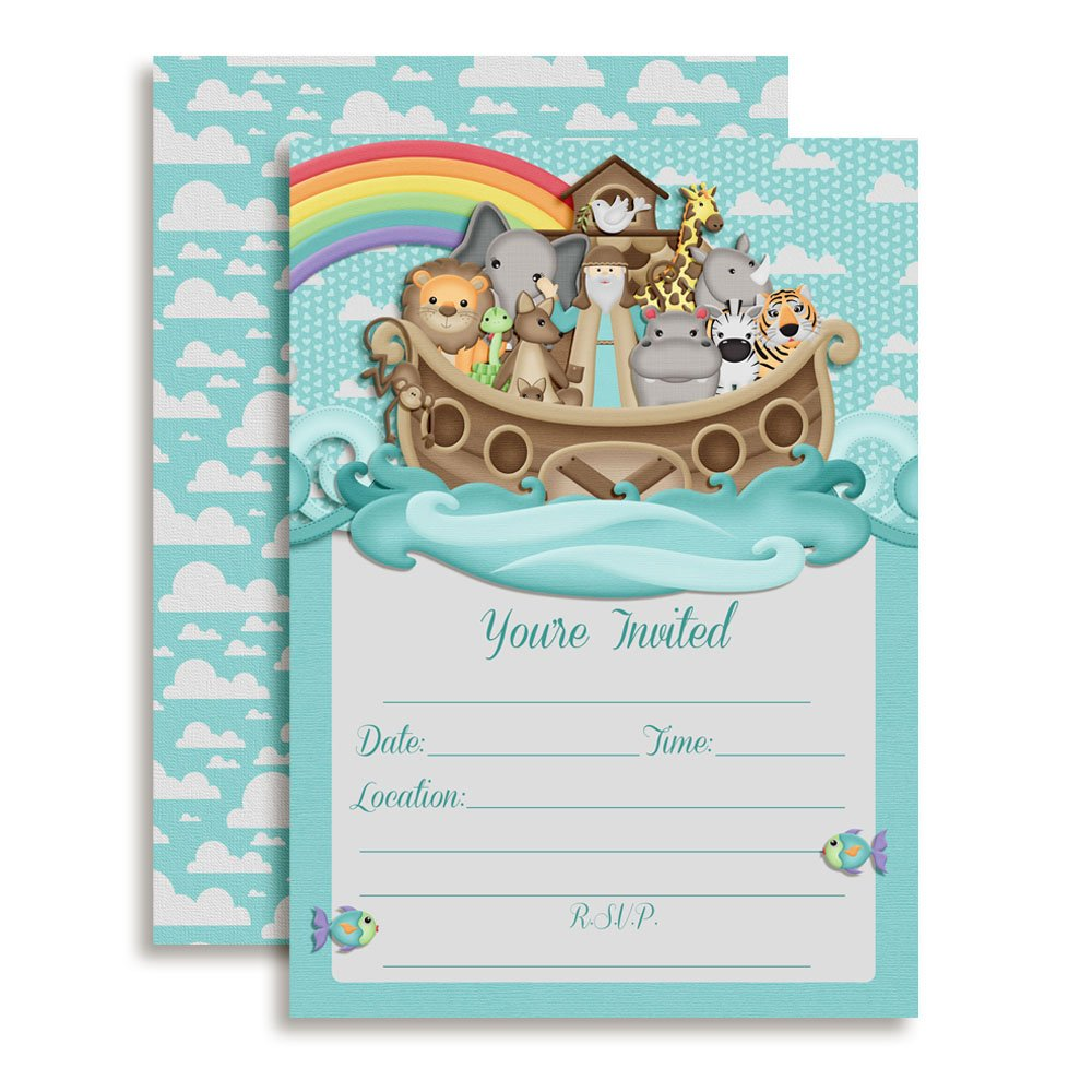 Noah's Ark Birthday Party or Baby Shower Invitations, Ten 5''x7'' Fill in Cards with 10 White Envelopes by AmandaCreation