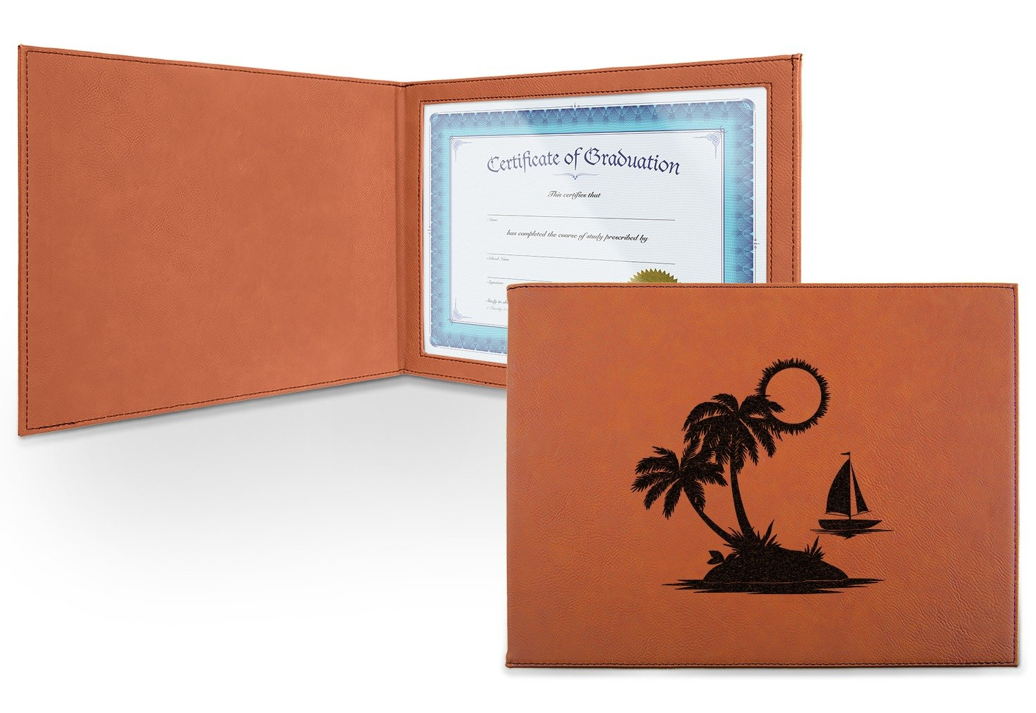 Tropical Sunset Leatherette Certificate Holder - Front (Personalized)