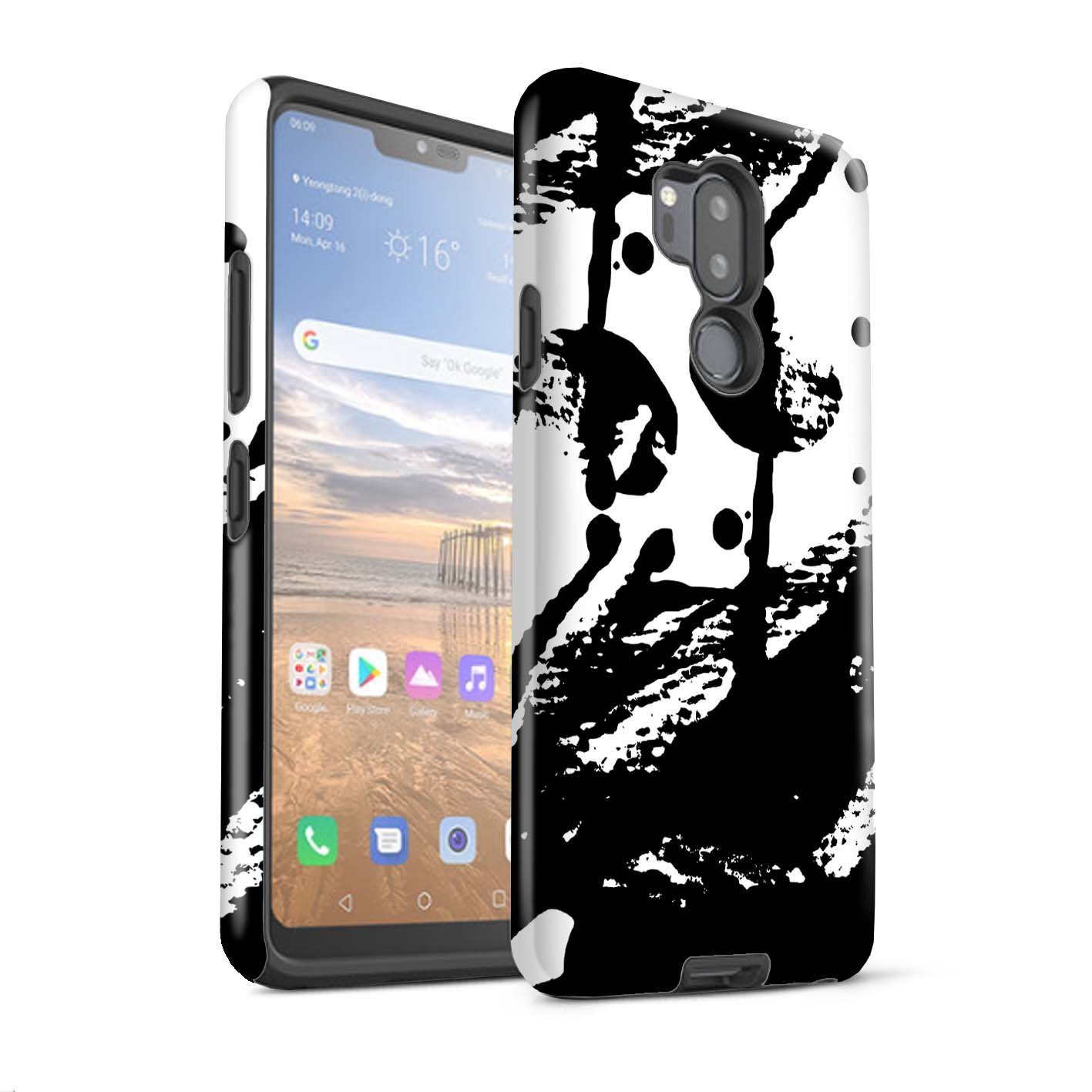 STUFF4 Matte Tough Shock Proof Phone Case for LG G7 ThinQ/G710 / Ink Print Design/Abstract Floral Art Collection