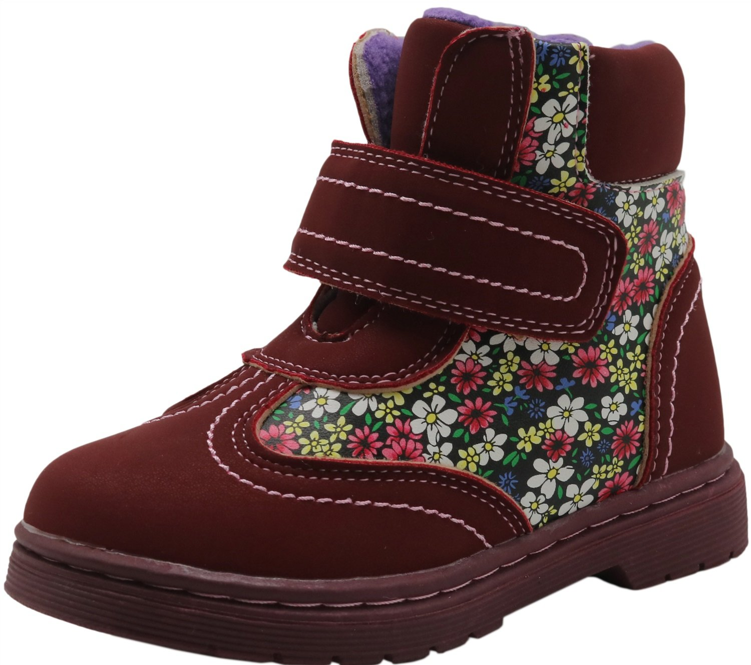 Durable Toddler//Little Kid Non-Slip Spring Autumn Kids Girls Shoes Floral Martin Boots Color : WineRed , Size : 8.5 M US Toddler