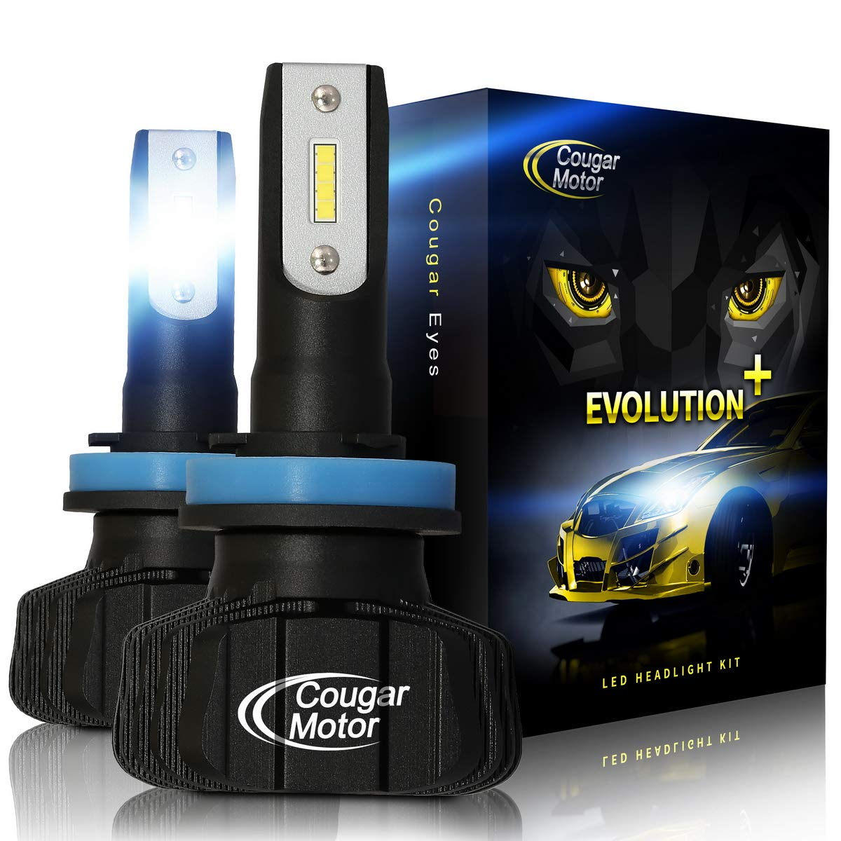 Cougar Motor H11 Led headlight bulb, 9600Lm 6500K (H8 H9) Fanless All-in-One Conversion Kit - 3D Bionic Technology