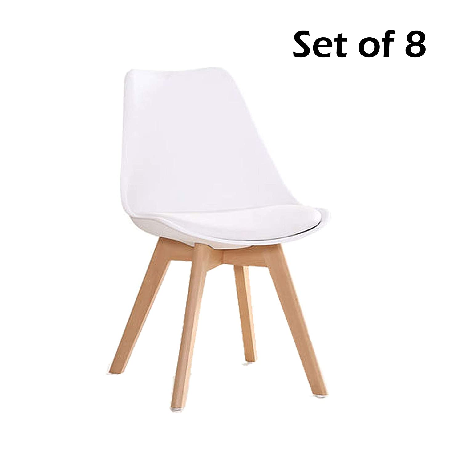 Amazon com yeefy dining chairs modern dining room chair natural wood legs set of 8white chairs