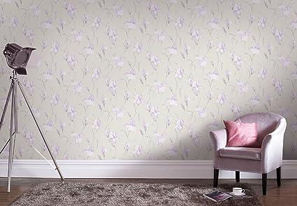 Graham Brown Iris Grey Lilac Wallpaper 20 968 Amazon Co Uk