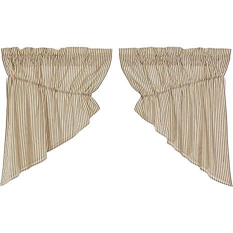 """VHC Farmhouse Prairie Swag Kitchen Window Curtain Set Rod Pock Tan White 36x36/"""""""