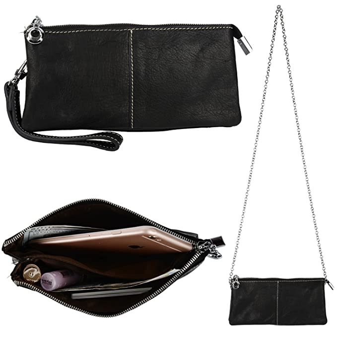 957f8b1cf5ab YALUXE Women's Large Capacity Real Leather Wristlet Clutch Checkbook Wallet  Small Shoulder Bag