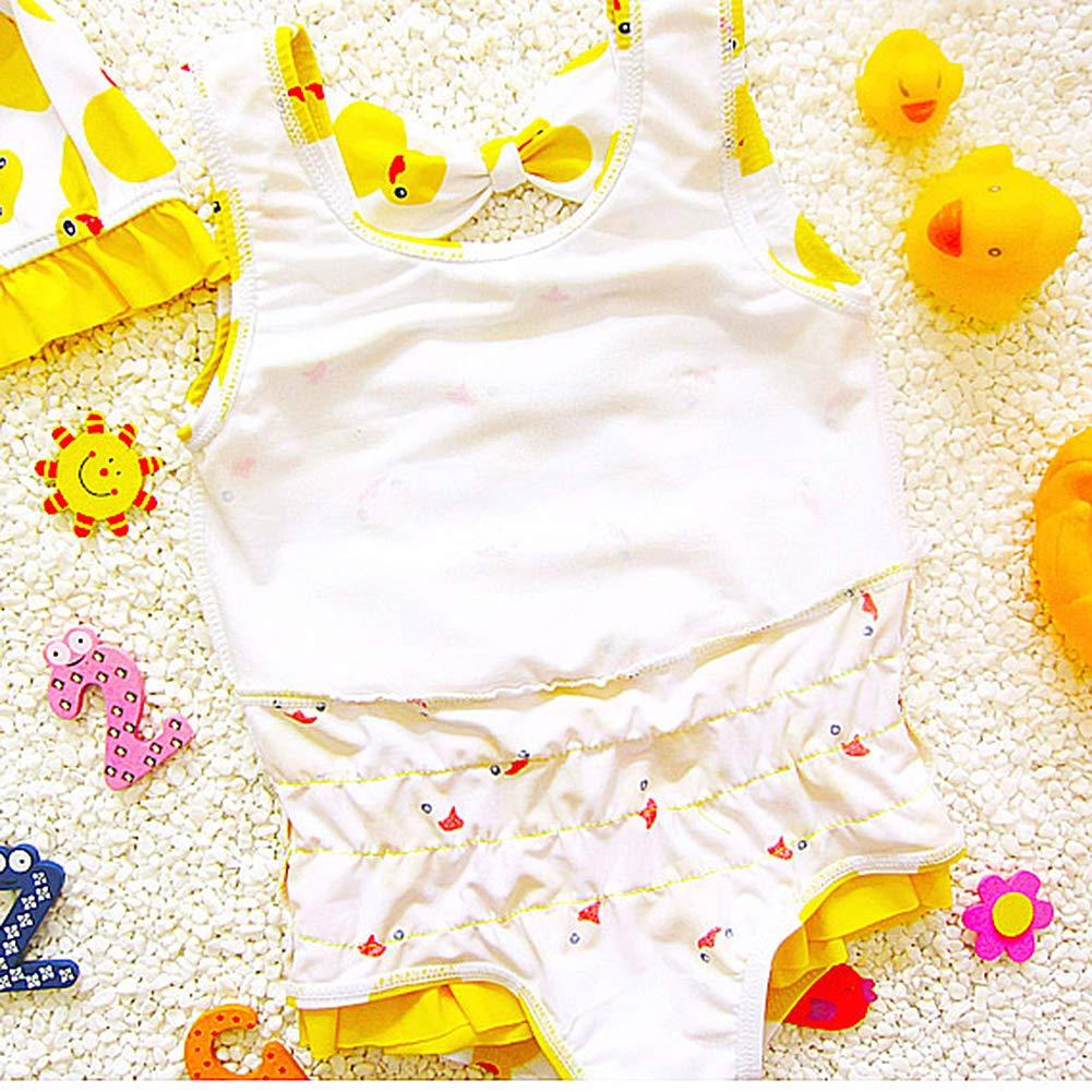 3-13 Years Swim Cap for Kids Dear Tomorrow 2PCS One-Piece Baby Girls Swimsuit Duck Swimwear