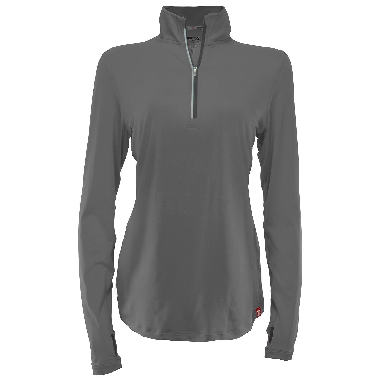Marucci Women 's Long Sleeve 1 / 4 Zipパフォーマンスソフトボールシャツ B071DXPZ4W Medium|グレー グレー Medium