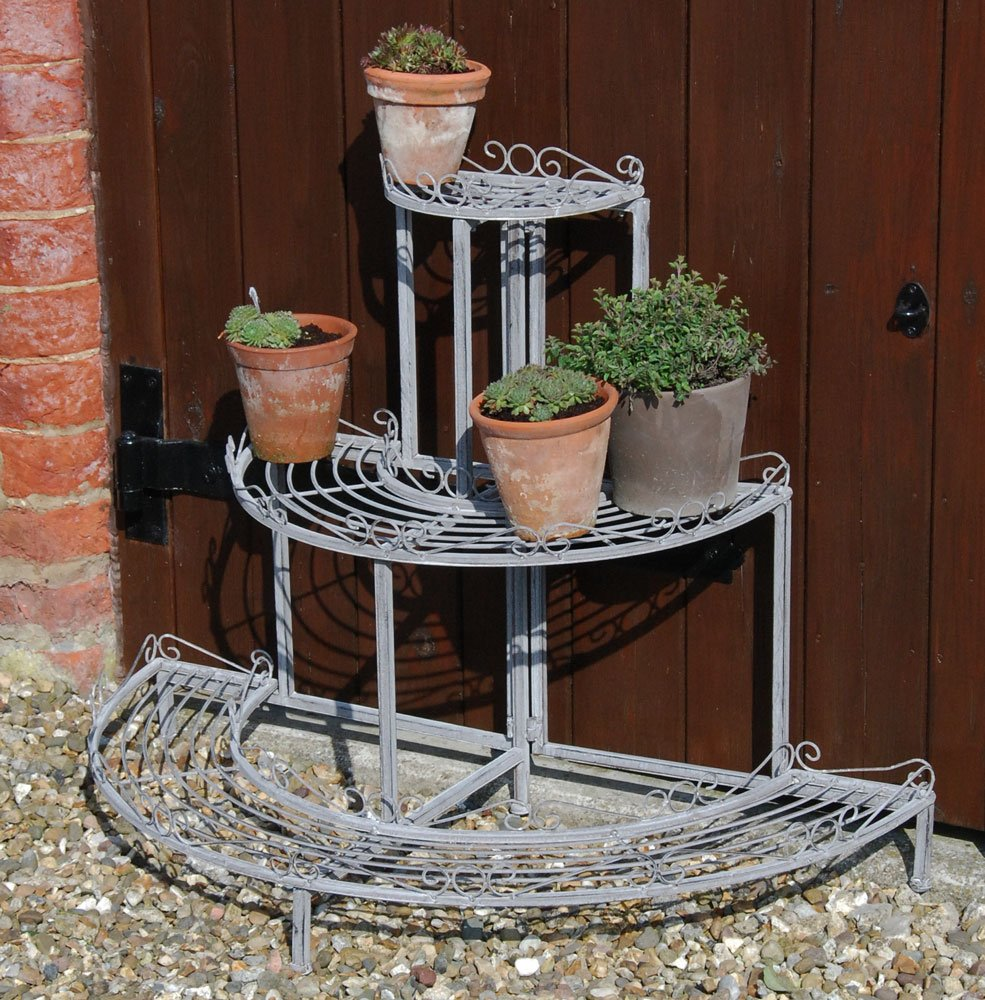 Bluebell Yard French vintage brocante style grey metal ornate three tier plant stand