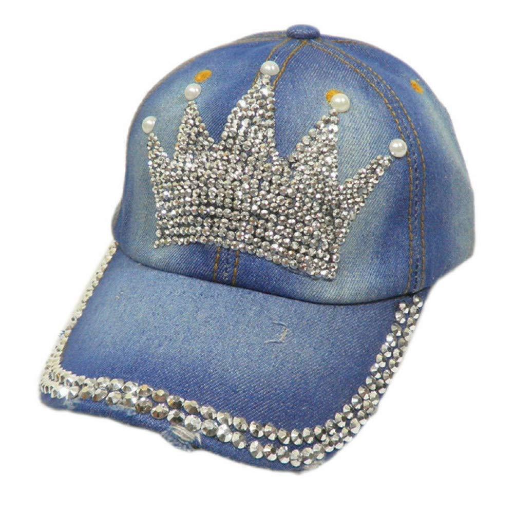 ENGXING Rhinestones Bling Azul Ajustable Jean Caps Moda Mujer ...