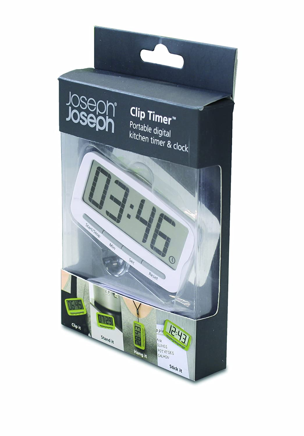 Amazon.com: Joseph Joseph Clip Timer Portable Digital Kitchen Timer And  Clock, White: Kitchen U0026 Dining