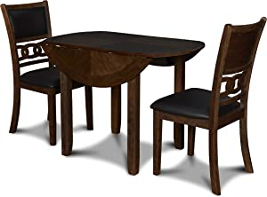 New Classic Furniture Gia Drop Leaf Dining Table with Two Chairs, 42-Inch, Brown