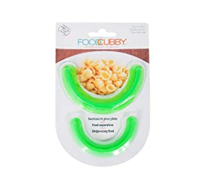 Food Cubby Plate Divider 2 PACK Green - Food Separator - Food Safe Silicone