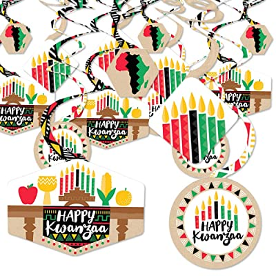 Big Dot of Happiness Happy Kwanzaa - African Heritage Holiday Party Hanging Decor - Party Decoration Swirls - Set of 40: Toys & Games