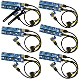 SYNTRONIC Pack Of 6 Card Pci-E 16X To 1X Adapter Usb3.0 Usb 3.0 Riser Card Adapter Cable