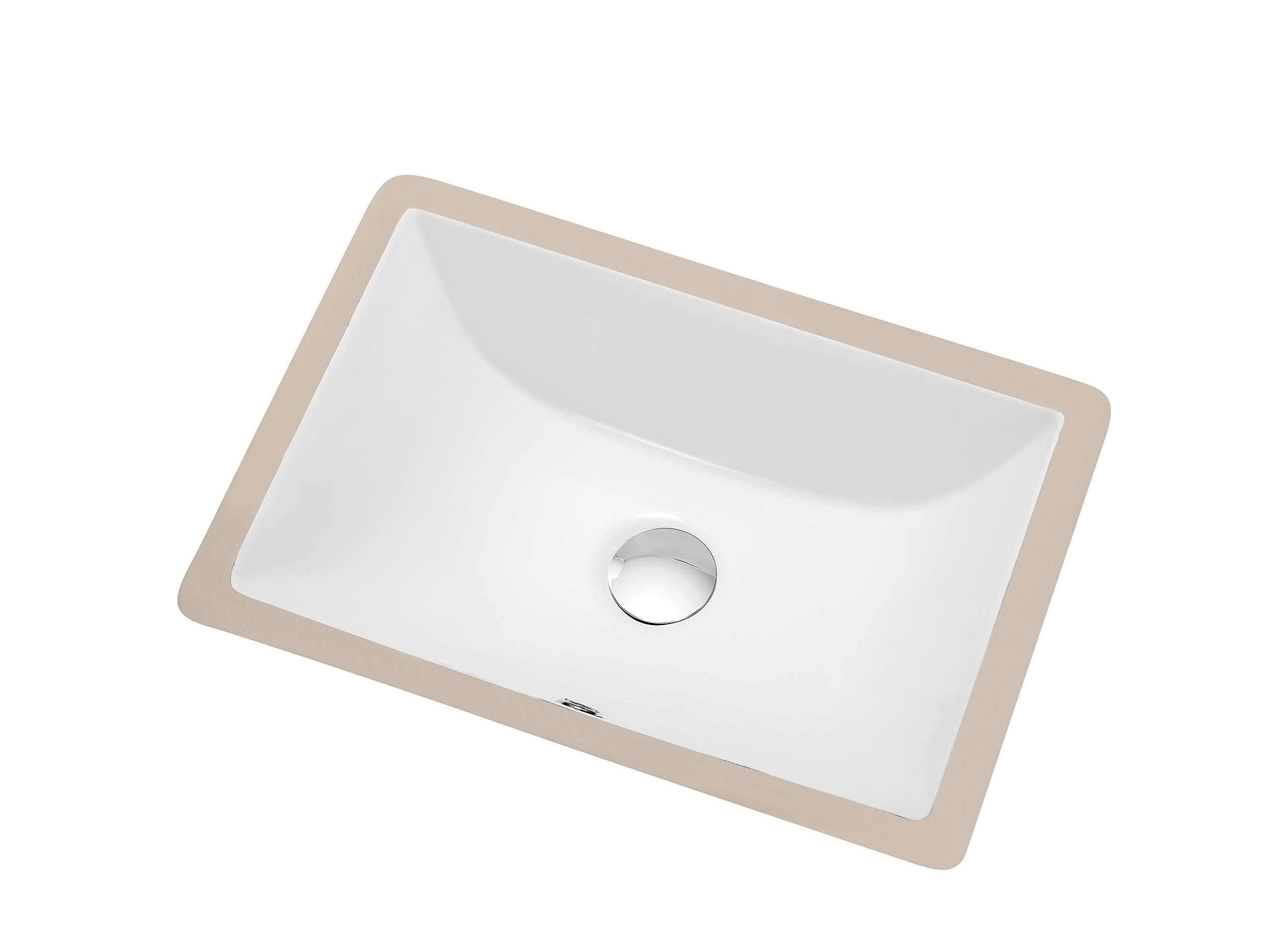 Dawn CUSN015000 Under Counter Rectangle Ceramic Basin with Overflow, White by Dawn