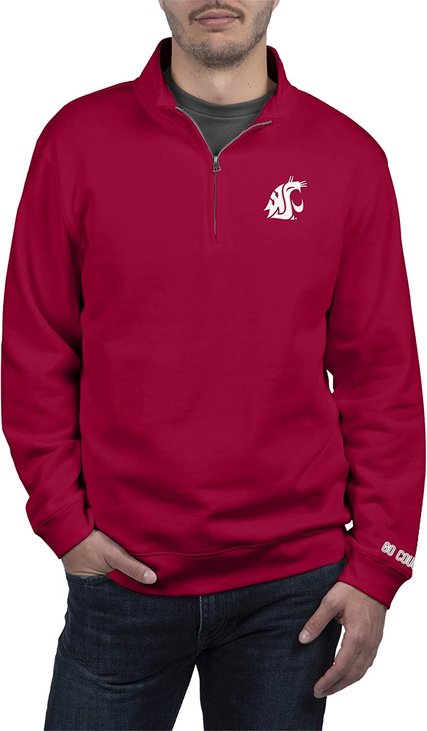 Top of the World NCAA Mens Quarter Zip Sweatshirt Team Applique Icon