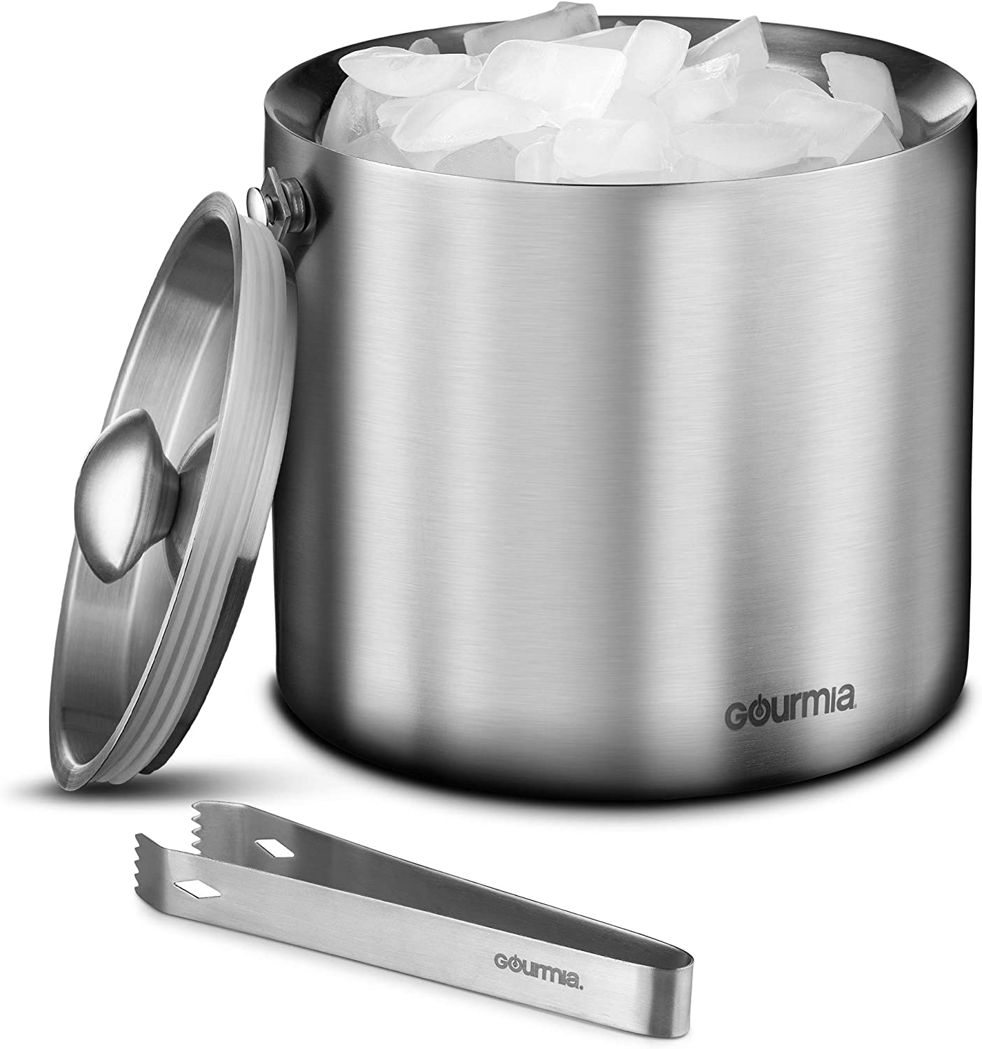 Gourmia GIB9385 Stainless Steel Ice Bucket With Tongs - 3 Liter Double Walled Insulated with Airtight Leak Resistant Lid and Carrying Handle – Mirror Polish Finish – Elegant Gift