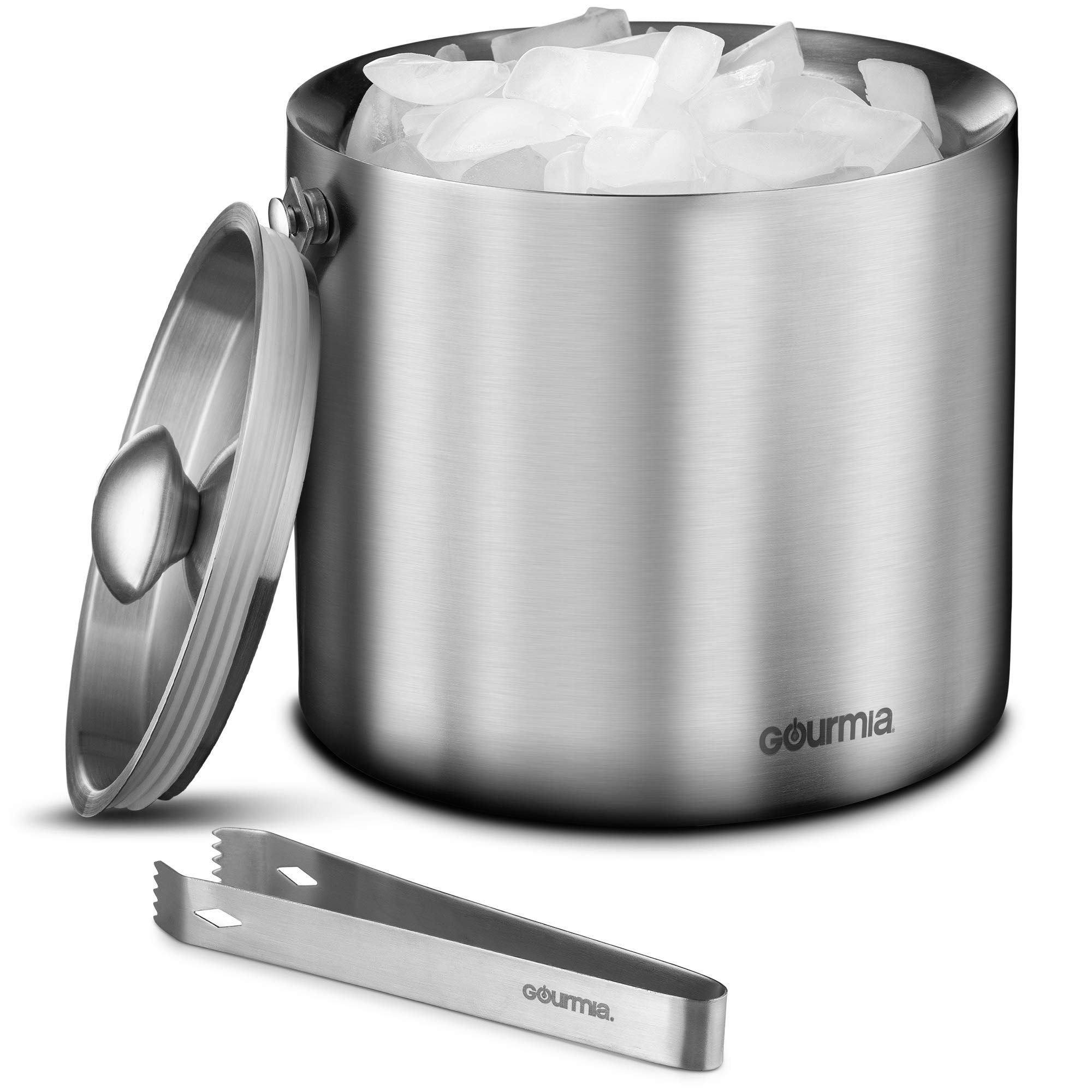 Gourmia GIB9385 Stainless Steel Ice Bucket With Tongs - 3 Liter Double Walled Insulated with Airtight Leak Resistant Lid and Carrying Handle - Mirror Polish Finish - Elegant Gift