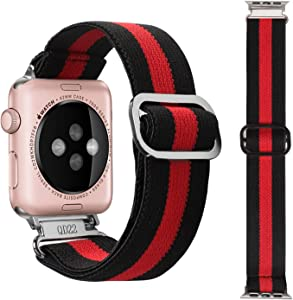 YPSNH Stretchy Strap Compatible for Apple Watch 38mm 40mm, Pattern Elastic Bands Replacement Wristbands Accessories for iWatch Series 6/5/4/3/2/1/SE, Women and Men (Black Red Stripe, 38mm/40mm)