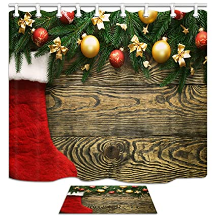 nymb christmas bathroom accessories sets pine twig smoke ball and red socks 69x70in mildew - Christmas Bathroom Decor Amazon