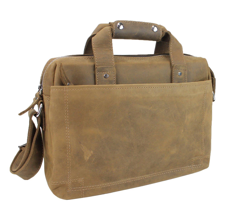 Vagabond Traveler 15'' Classic Fine Leather Messenger Bag Daily Bag L29. Distress