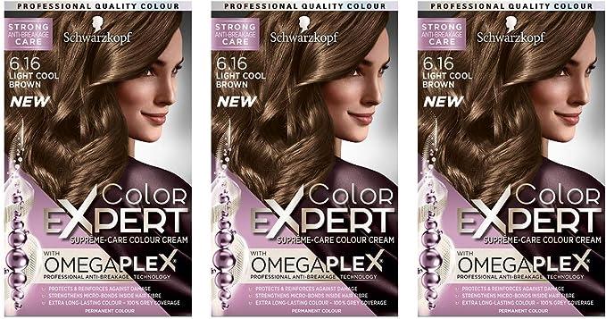 Schwarzkopf Color Expert Omegaplex tinte para cabello, 6.16 marrón claro fresco – Paquete de 3