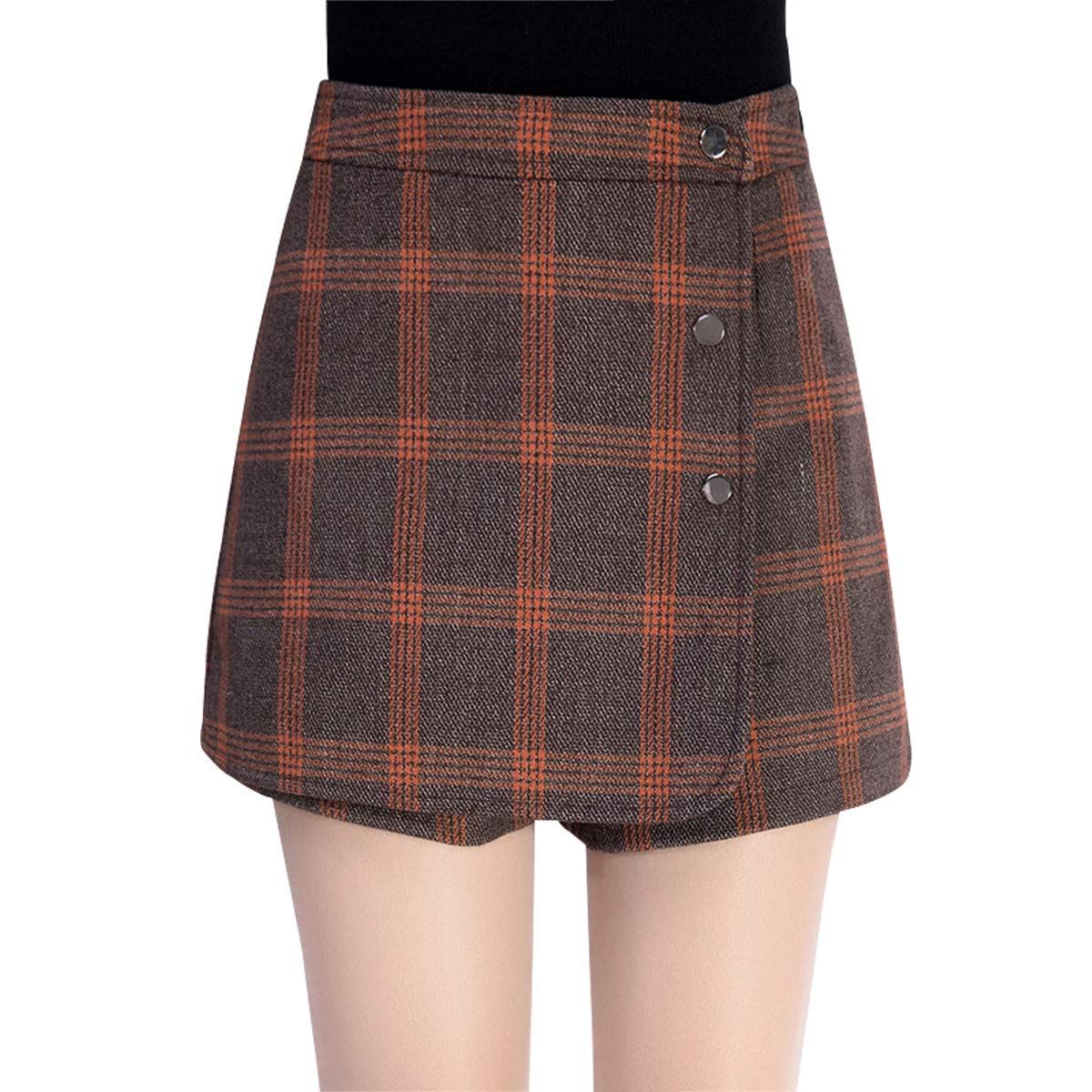 Wincolor Women's High-Rise Plaid Checked Wool A-line Shorts Mini Culottes Pantskirts