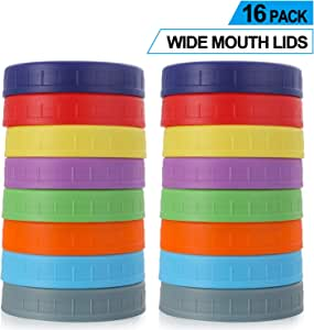 WIDE Mouth Mason Jar Lids [16 Pack] for Ball, Kerr and More - Food Grade Colored Plastic Storage Caps for Mason/Canning Jars - Leak-Proof & Anti-Scratch Resistant Surface