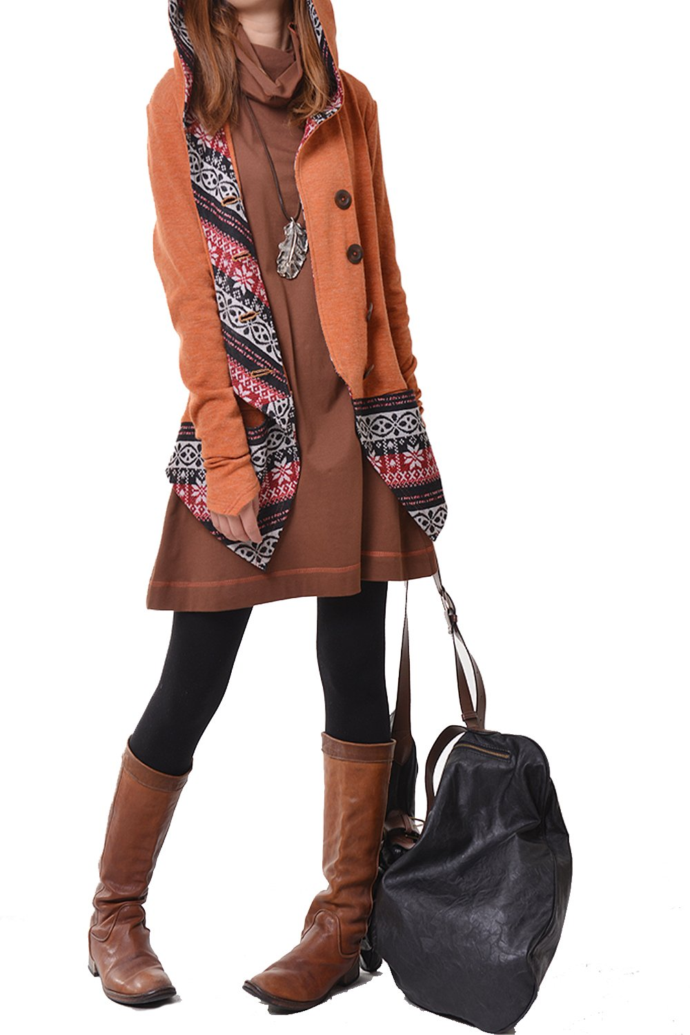 Idea2lifestyle Women's Hoodie Cardigan and Tunic Dress Set Orange and Brown (L(US 14))