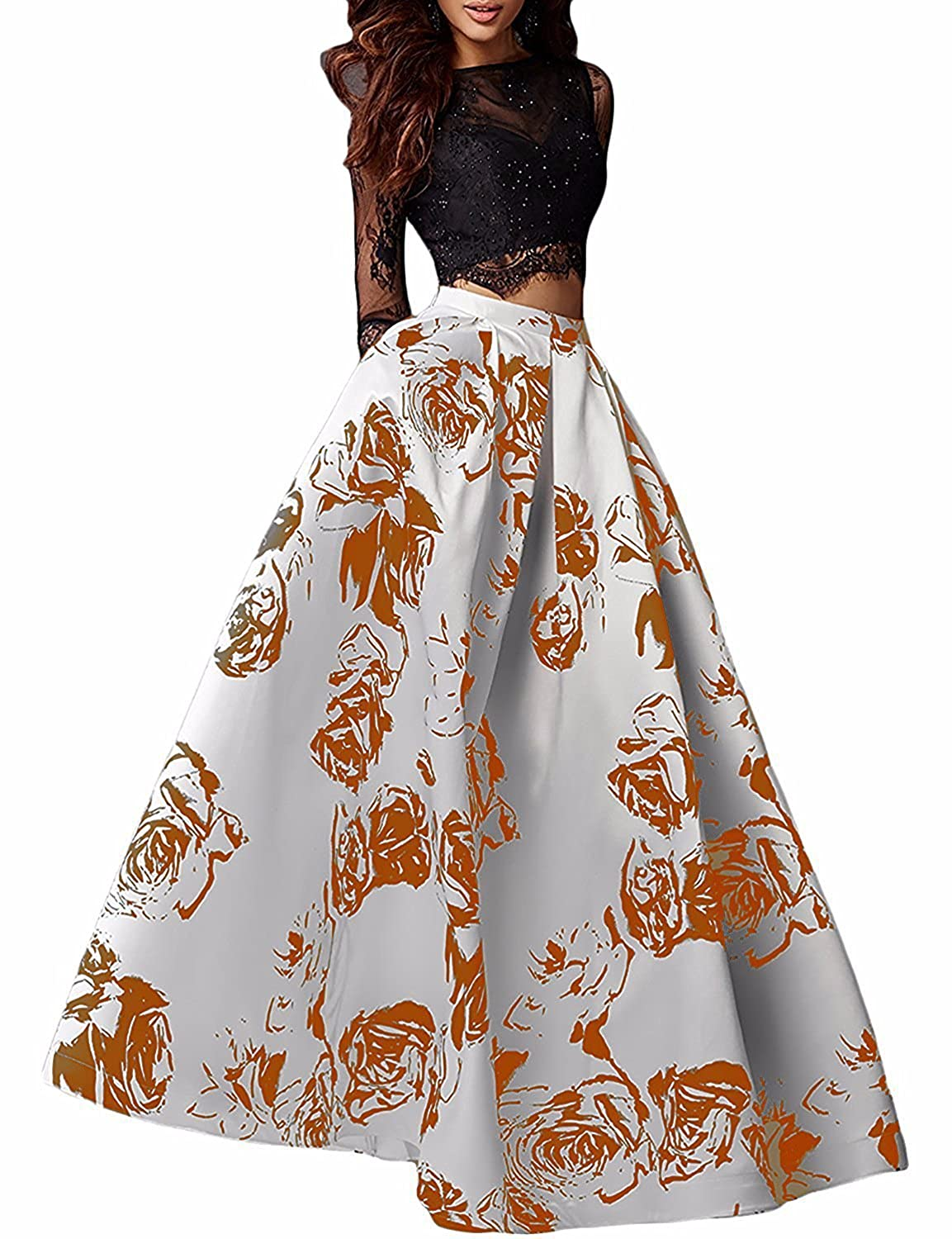 orange Yiweir Women's Two Piece Prom Dresses 2018 Long Floral Print Lace Beads Formal Gowns YP038