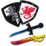 Super Z Outlet Children's Foam Toy Medieval Joust Dual Dragon Sword & Shield Knights Set Lightweight Safe for Birthday Party