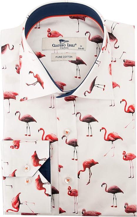 Claudio Lugli Camisa para hombre con estampado de flamenco - Blanco - Medium: Amazon.es: Ropa y accesorios