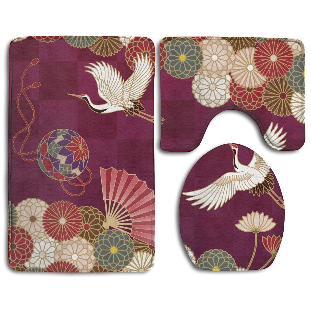 Japanese Traditional Crane Soft Toilet Rug 3 Pieces Set, Non Slip Bathroom Rugs, U-Shaped Toilet Mat, Toilet Lid Cover SIRHS