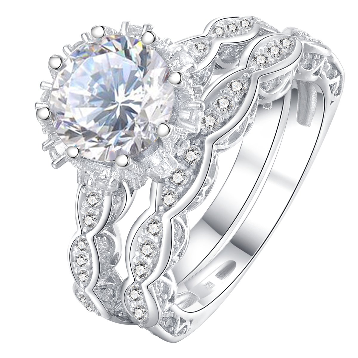 Newshe Vintage 3ct Round White CZ 925 Sterling Silver Wedding Band Engagement Ring Set Size 5-10 Newshe Jewellery JR4891_SS