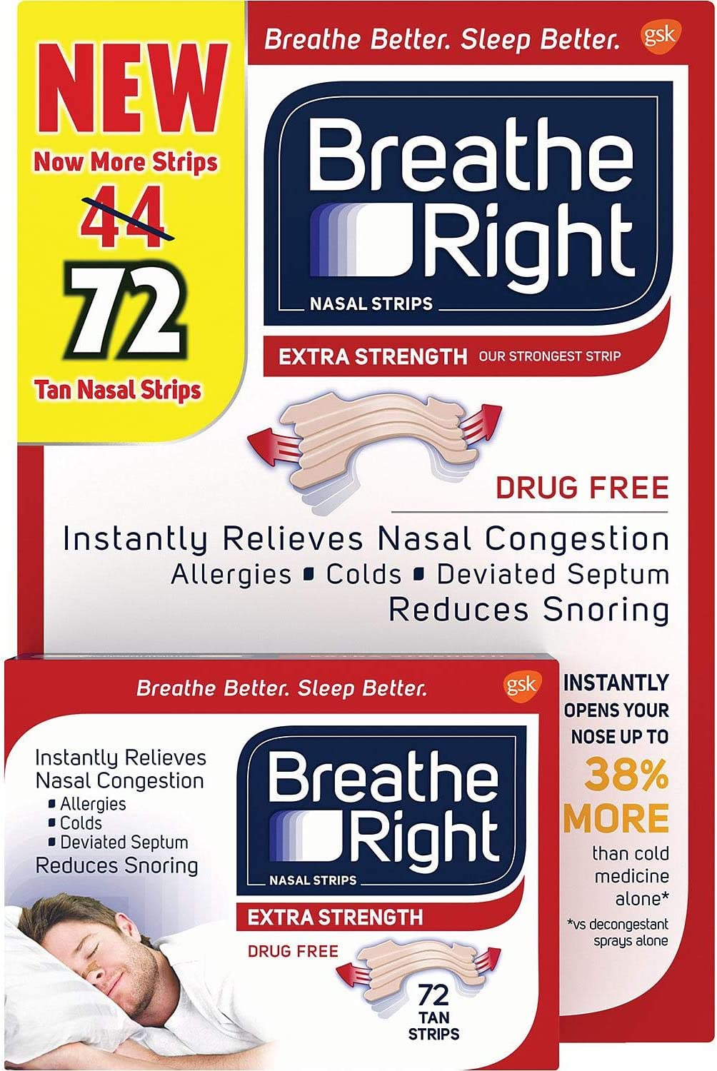 Breathe Right Extra Strength Tan Strips Reduces Snoring-Free Nasal Strips for Nasal Congestion Relief-72 Count: Sports & Outdoors