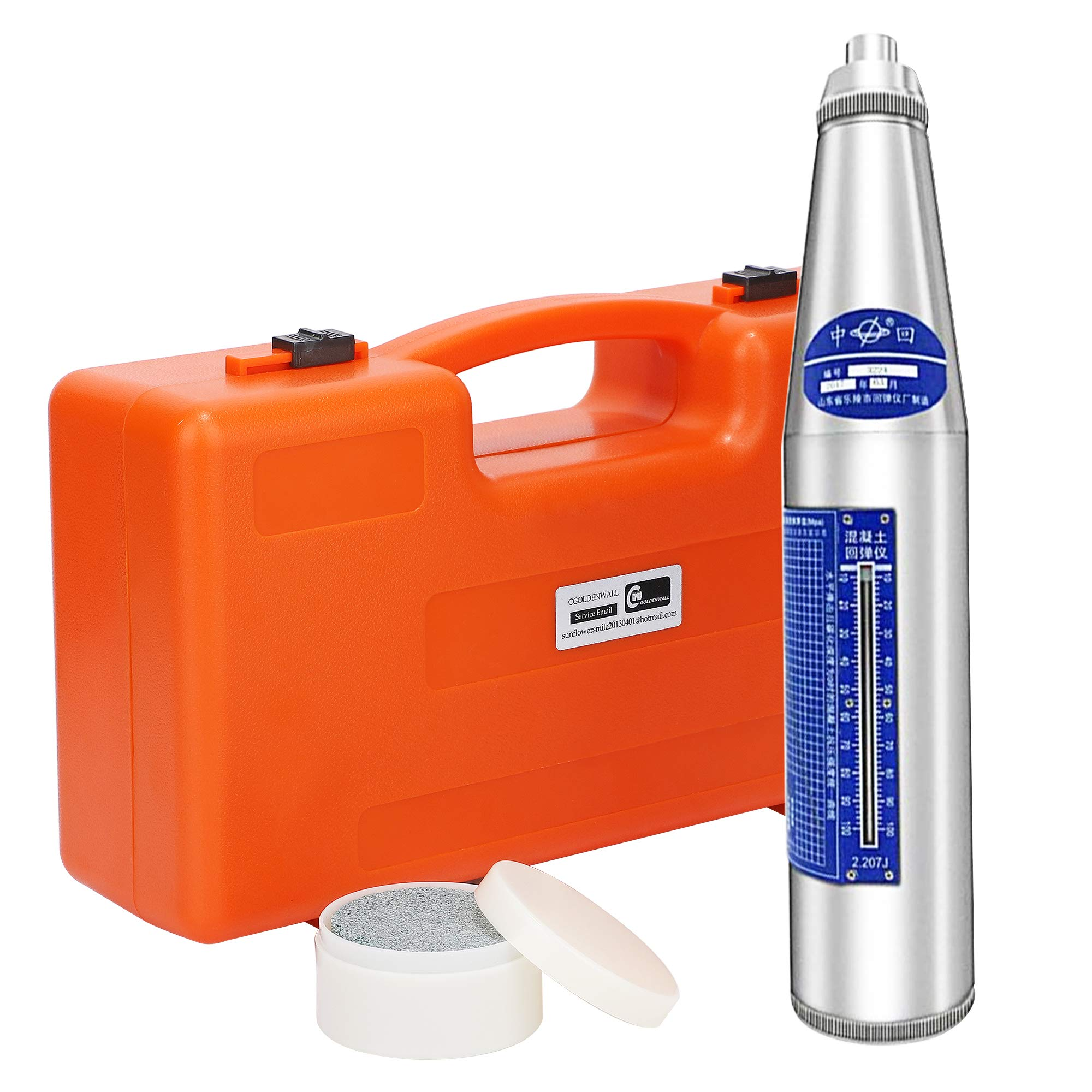 CGOLDENWALL Concrete Rebound Hammer Tester Resiliometer Tester Meter Tool within the Scope of 10-60Mpa ZC3-A Calibration Certificated and English Instruction