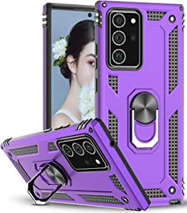 Samsung Galaxy Note 20 Ultra 5G Case, LeYi [Military Grade] Protective Phone Case with Magnetic Car Mount Ring Kickstand for Samsung Note 20 Ultra 6.9 inch, Purple