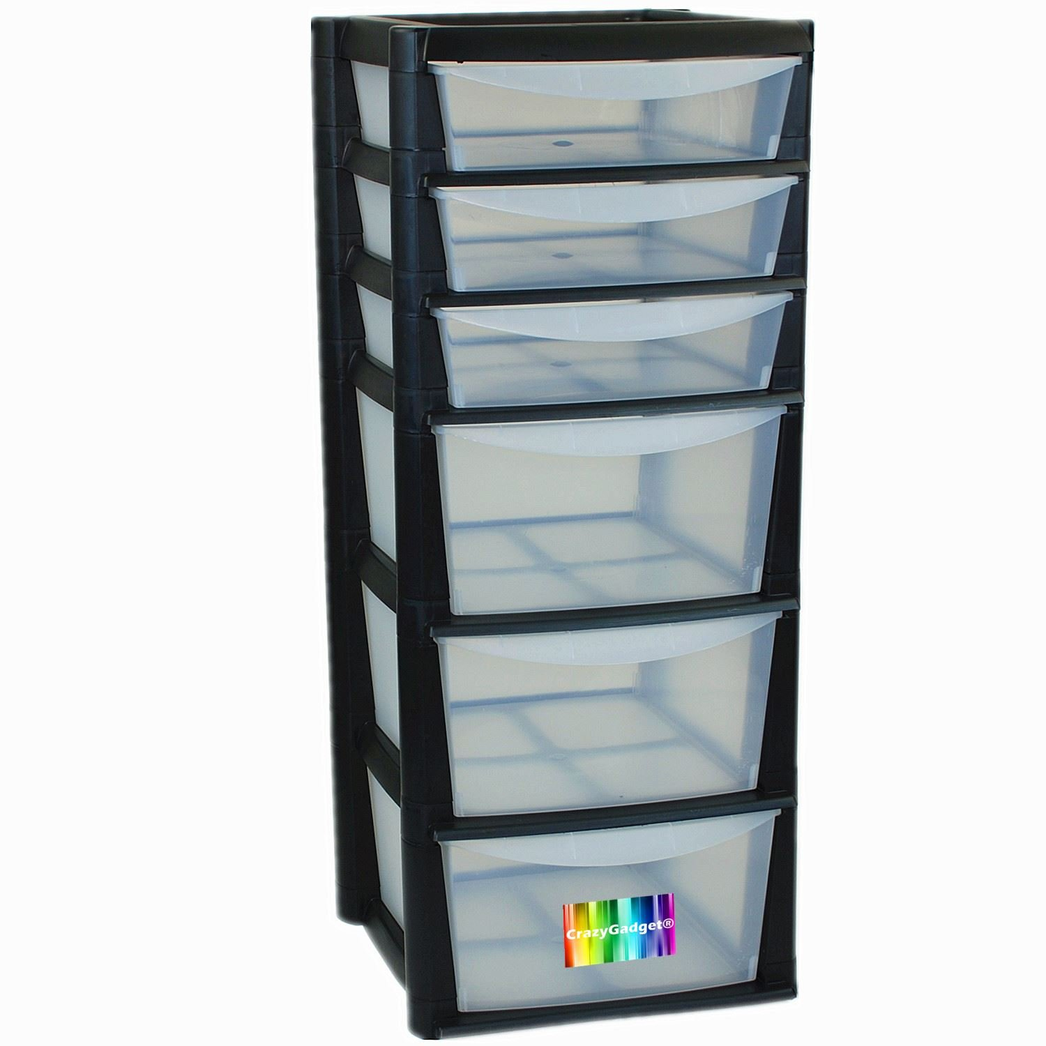 CrazyGadget® Extra Large 6 Drawer Tower Storage Draw Plastic School Office Home Organiser Unit Set Black - Made In UK