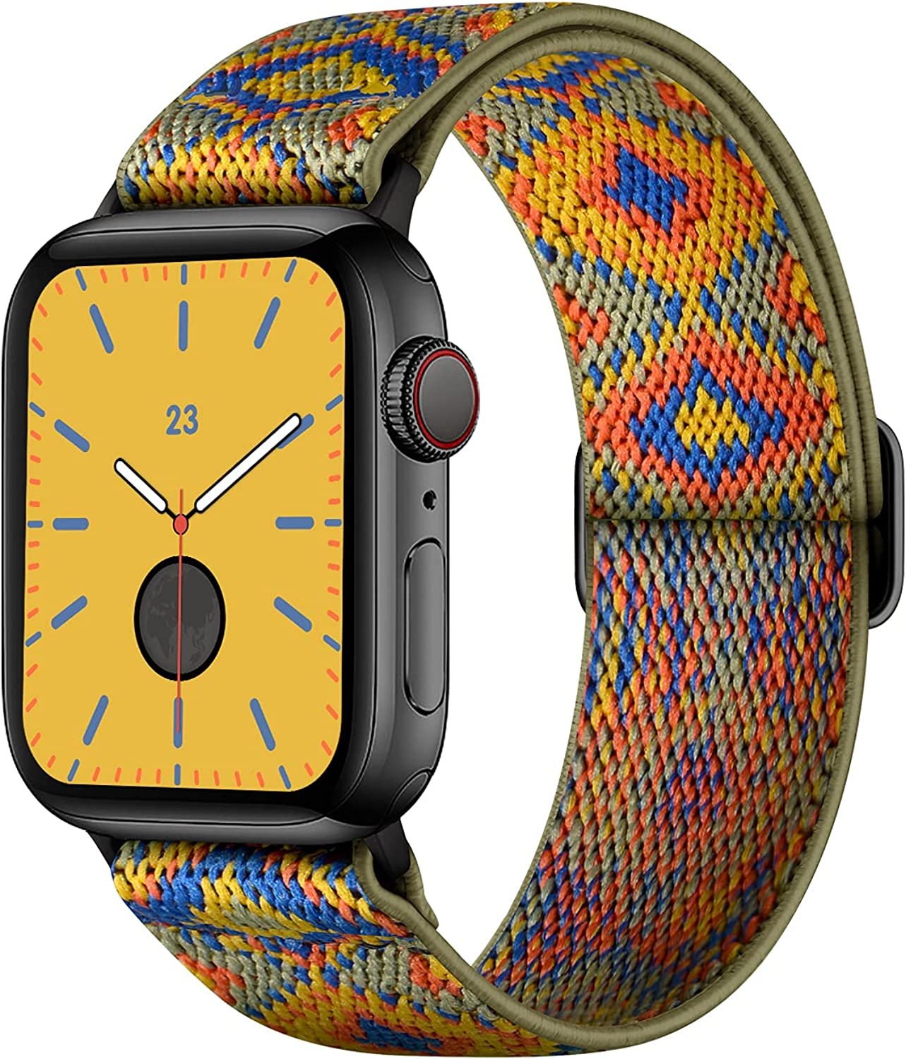 AMANECER Stretchy Nylon Watch Bands Compatible with Apple Watch Series 6/5/4/3/2/1 SE, Adjustable Braided Elastic Sport Solo Loop Bands for iWatch