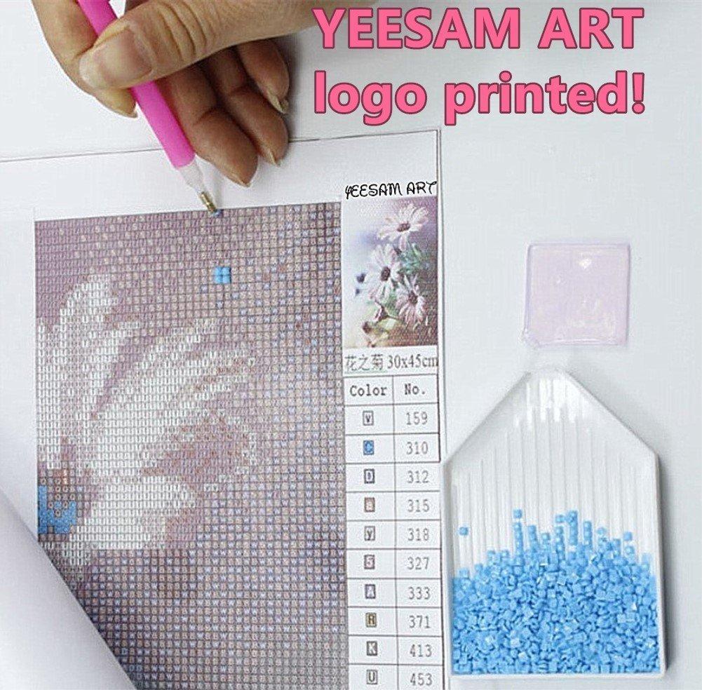 30 x 40 cm 5D Diamanten-Malset/- Wei/ßes Pferd -/Strassperlen-Gem/älde zum Selbstgestalten Malen nach Zahlen von Yeesam Art Kreuzstich-Stickerei