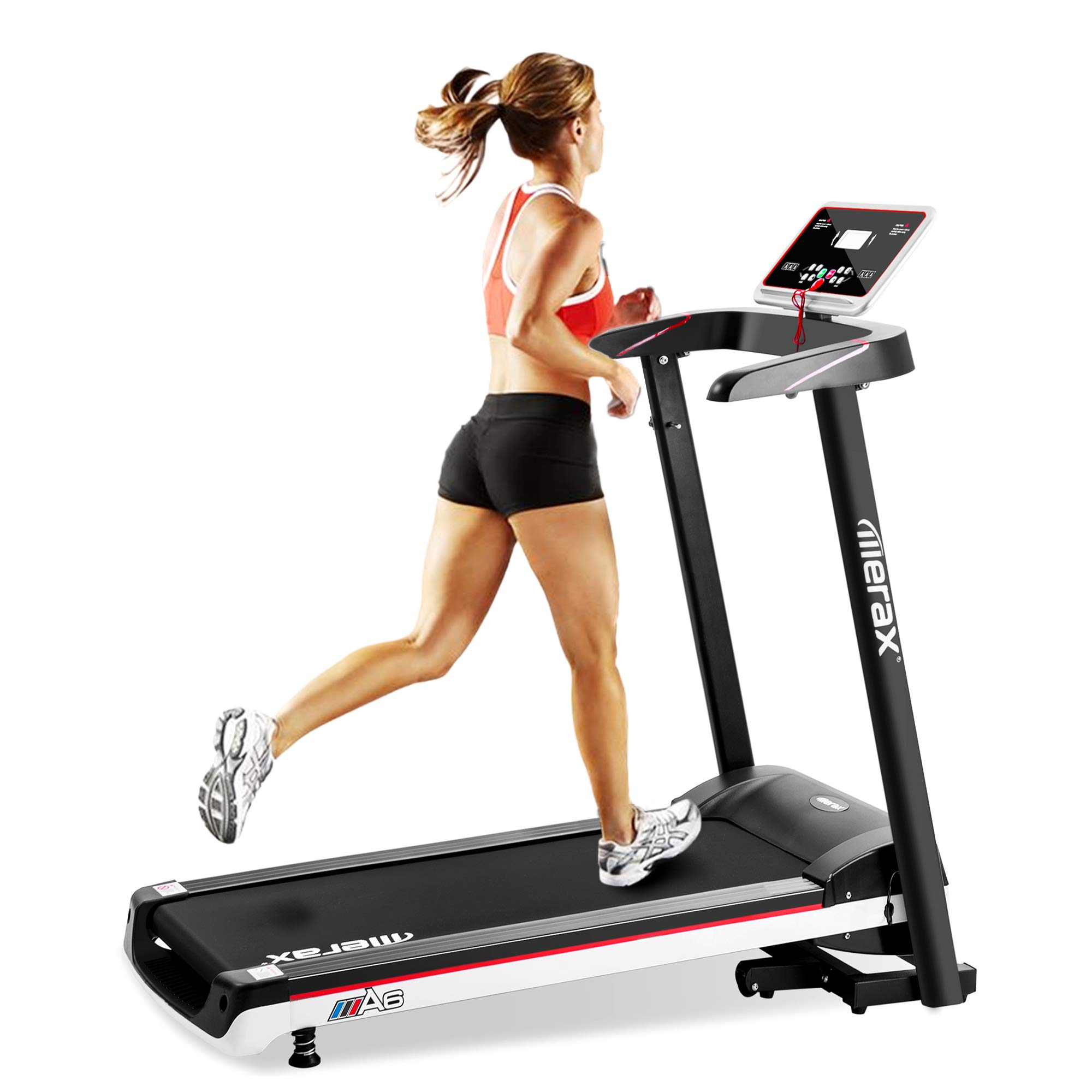 Danxee Folding Electric Treadmill Motorized Exercise Running Walking Machine Fitness Equipment with LCD Display (White)