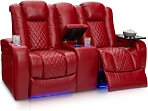 Seatcraft Anthem Home Theater Seating Leather Power Recline Loveseat with Center Storage Console, Powered Headrests, Cup Holders